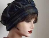 Women's Tam in Blue Plaid Wool Fabric