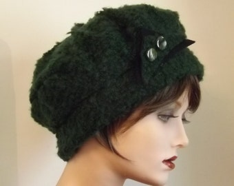 Warm and Comfortable Hat in Dark Green, Boucle Wool Fabric