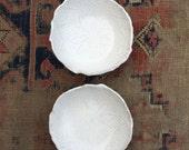Ceramic bowls - white dessert ceramic bowls - set of 2 -tableware organic shaped ice cream Bowls