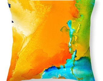 Throw Pillow Cover from Abstract Original Painting - Various Sizes