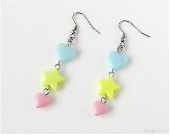 Magical Girl Earrings, Kawaii Earrings, Heart and Star, Neon Colors, Pastel Colors, Stainless Steel, Fairy Kei, Spank Kei, Gatumi