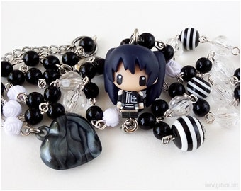 D Gray Man Lenalee Rosary Necklace, Black and White, Anime Jewelry, Kawaii Jewelry, Anime Necklace
