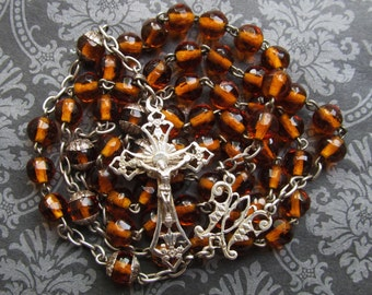 Antique Rosary French Cut Amber Glass Silver Crucifix Centerpiece Catholic Prayer Beads