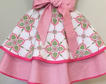 Gorgeous Two Tiered Hostess Half Apron in Amy Butler Fabric with Stripe Accents