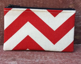 Mini Zipper Pouch Red Chevron Handmade in Iowa