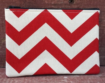 Zipper Pouch Red Chevron Handmade in Iowa