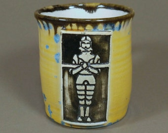 Noble Knight Stamped Yellow and Blue Crystalline Glazed Porcelain Wheel Thrown Ceramic Clay Mug