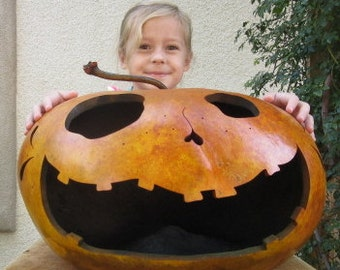 Halloween Gourd XXXLarge Jack O Lantern Primitive Pumpkin Decoration