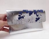 Metallic Silver and Dark Blue Handprinted Leather Purse Mini Clutch