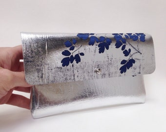 Metallic Silver and Dark Blue Handprinted Leather Purse Mini Clutch