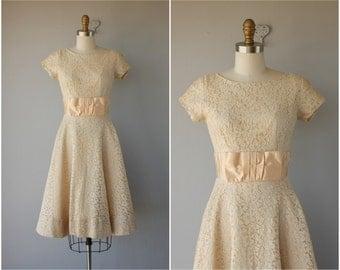 1950s Dress | 50s Dress | 1950s Cotton Lace Dress | 1950s Party Dress | 1950s Wedding Dress | Lace Illusion Dress | 50s Party Dress