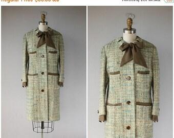 25% OFF SALE... Vintage 1960s Coat | 60s Coat | Tweed Wool Coat | Bouclè Wool 60s Coat | Pastel Coat