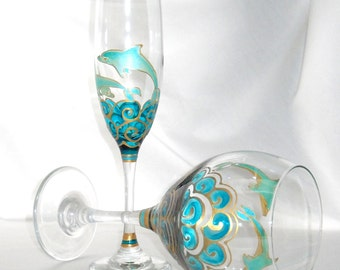 Dolphin Flute Glassware Hand Painted Flute Champagne Glasses, Pair