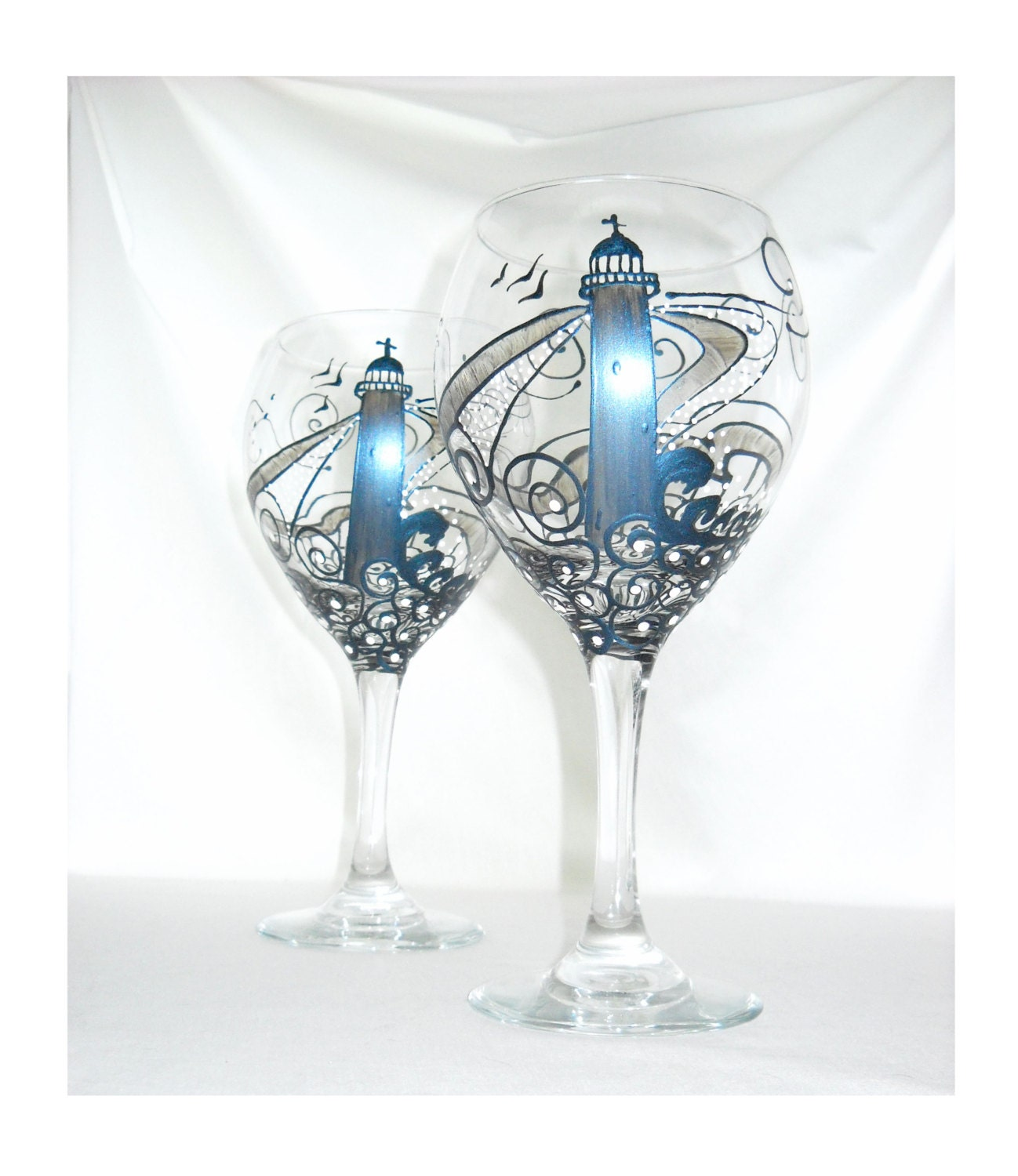 Steel blue lighthouse wine glass hand painted by for Hand painted glassware