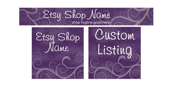 Etsy Banners - Etsy Shop Banners - Purple Etsy Banners - Purple Etsy Shop Banners - Etsy Banner Set - 3 Piece Purple Elegance