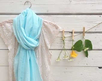 Cotton Scarf, Summer Scarf, Cotton Gauze Scarf, Aqua Blue Scarf, Long Scarf, Women's Fashion Scarf, Fashion Accessories, Gift Idea