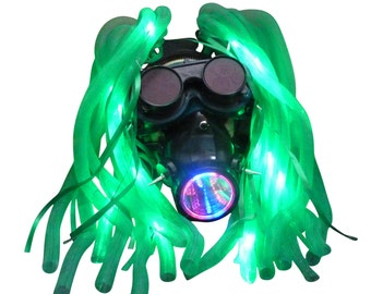 Steampunk Goggles LED light dread cyber lock goth RAVE cyber club face gas mask respirator DJ dance   M2