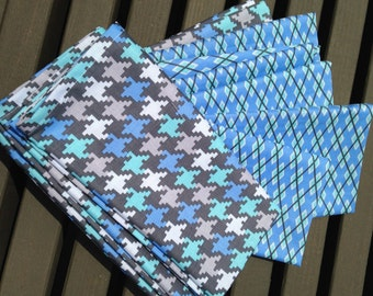 Grey and Blue Hounds tooth Cotton Napkins 12