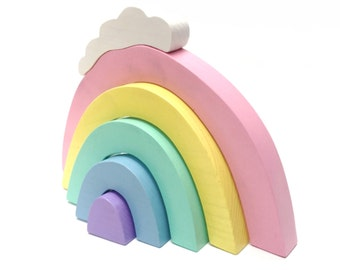 wooden stacking toy • mini rainbow stacker with cloud • wood rainbow stack • pastel rainbow stacker