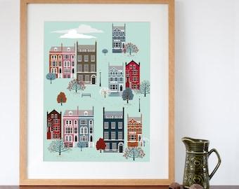 London Row Houses in Fall / Autumn Art Print