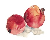 Pomegranates  art  print, Still life art, pomegranates No 3, watercolor print, kitchen art, Botanical art, fruits art, Garnet Red, Judicial