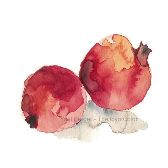 Pomegranates  art  print, Still life art, pomegranates No 3, watercolor print, kitchen art, Botanical art, fruits art, Garnet Red, Judicial