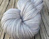 Pieces of Eight hand dyed lace weight yarn baby alpaca silk cashmere sparkle 875 yards handdyed silver gray grey luxury yarn