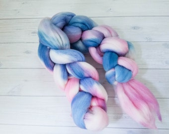 """Handpainted hand dyed rambouillet top wool top spinning fiber roving """"Cotton Candy"""" rambouillet wool roving pink and blue top roving"""