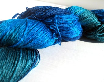Handpainted hand dyed Sock Yarn Superwash Merino/Silk 50/50 437yds 100g