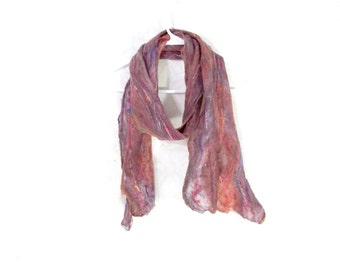 Cobweb Felted Scarf Wool Scarf Gifs for Her Winter Scarf Mauve Scarf Womens Scarf Winter Accessory Lightweight Scarf in Mauve Peach Purple