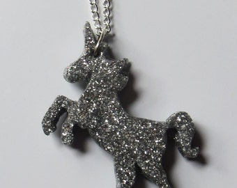 Silver glitter unicorn necklace