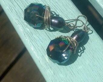 Dangle Purple Sparkle Earrings