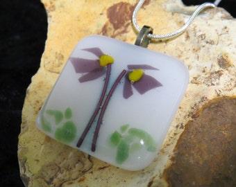 Poppy Fused Glass Pendant - Purple Flower Fused Glass Jewelry - Fused Glass Pendant - Fused Glass Necklace - Purple Poppy