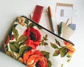 Vintage Fabric Pouch / zipper pouch, leather pouch, clutch purse, make up bag, pouch bag, pouch purse, vintage fabric, pencil pouch