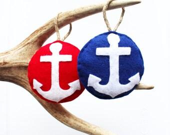 Anchor Felt Christmas Ornament . Nautical Christmas Ornament (Made to Order)