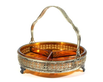 Vintage Amber Glass Relish Dish - Silverplate Caddy - Three Sections