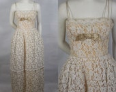 1950 Peggy Hunt Lace Shelf Bust Evening Gown Very Special