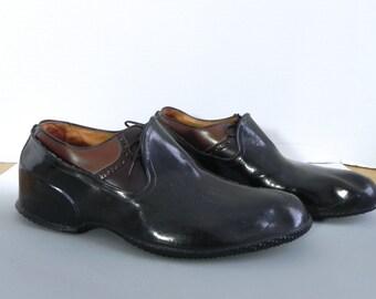 Vintage Mens Shoe Wellies , 50s Rubber Rain Shoe Covers US 12 - Black Over Shoes
