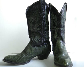 Vintage Tony Lama Green Cowboy Boots / Leather and Snake Skin Western Boots - Rockabilly Boots 8 US