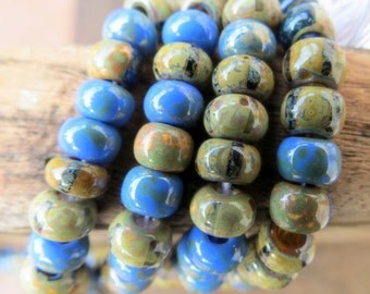 NEW AGED DENIM Striped Mix .  Czech Picasso Seed Beads . size 2/0  ( 20+ beads)
