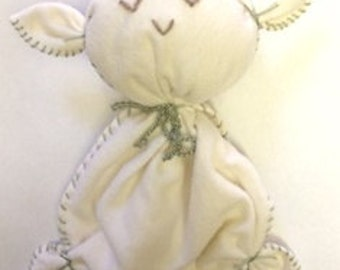 "Organic baby plushie, lovey toy, stuffed animal, organic cotton, eco wool, large size 10"" x 12"", baby gift"