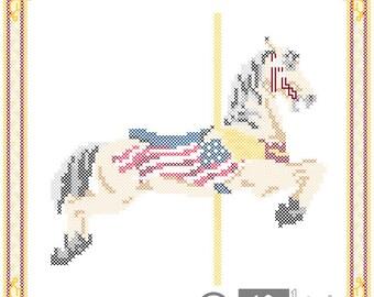 Carousel Horse Patriotic Cross Stitch Pattern Herschell-Spillman Golden Gate Park, San Francisco, CA PDF