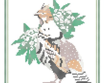Pennsylvania State Bird, Flower and Motto Cross Stitch Pattern PDF