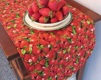 """Strawberry Table Runner 36"""" Reversible Red Table Runner Summer Table Runner Strawberry Table Decor Red Kitchen Decor Strawberries"""