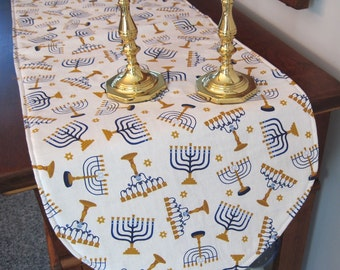 "Hanukkah Table Runner 36"" Reversible Blue Paisley Table Runner Menorah Table Runner Holiday Table Runner Hanukkah Table Decor  Menorah Decor"