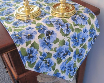 Blue Pansy Table Runner 54 inch Reversible Blue Table Runner Spring Pansy Table Runner Spring Blue Table Runner Floral Blue Table Runner