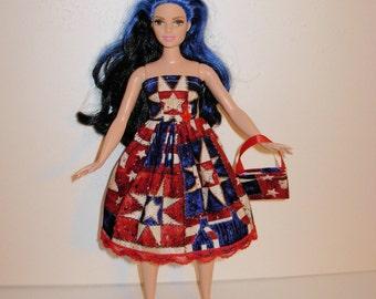 Handmade barbie clothes, CUTE Patriotic dress and bag for new barbie curvy doll