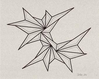 "8 x 10 Original freehand drawing on dark gray art paper - modern abstract art - contemporary home decor - wall decor - ""Moon Dance"""
