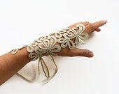 Gold Lace Wrist Cuff Charm, Bridal Fingerless Glove Gold Guipure Lace, Modern Wedding Handmade. Limited
