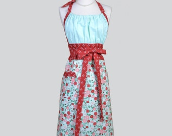 Cute Kitsch Retro Aprons - Full Vintage Kitchen Womans Apron in Brick Red and Mint Blue Floral Handmade Hostess Cooking Chef Womens Aprons